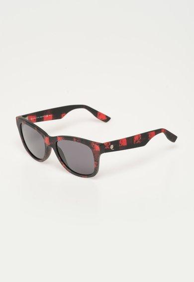 Alexander McQueen Ochelari de soare rosu mat cu negru in carouri