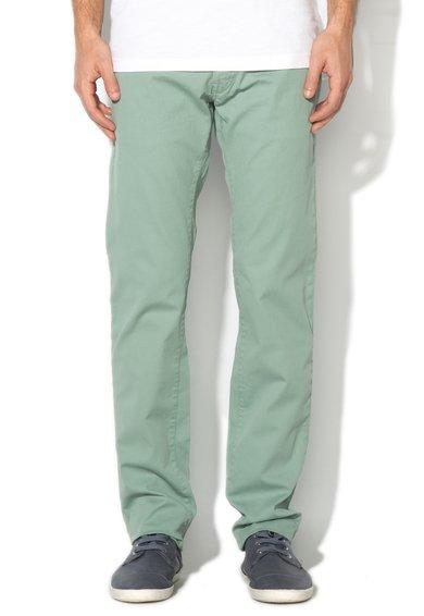 GAS Pantaloni verde celadon cu textura striata Mitch