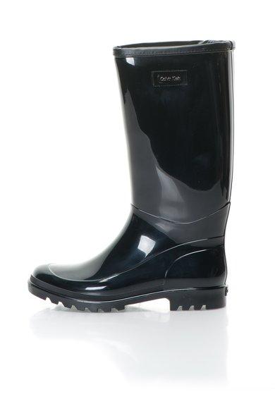 Cizme de ploaie negre cu interior din material teddy Abrianna Calvin Klein