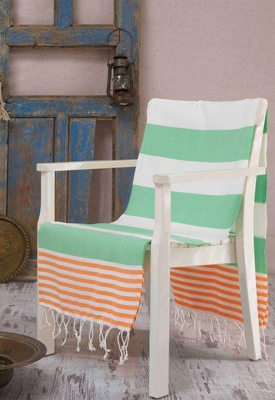 Leunelle Prosop Fouta alb cu dungi verde jad si oranj Antalya