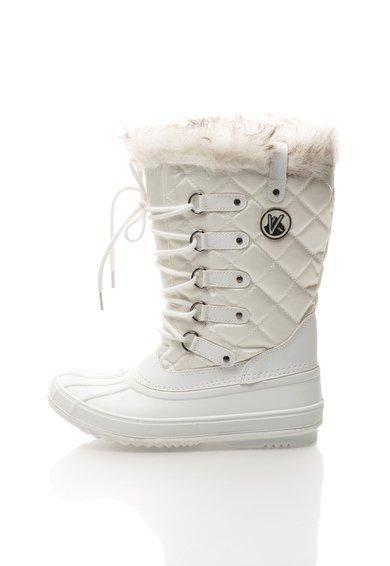 Cizme albe cu garnitura din blana sintetica Elsa