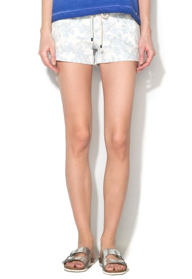 Pantaloni scurti albi cu imprimeu bleu Chely