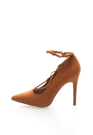 Pantofi maro cu toc inalt
