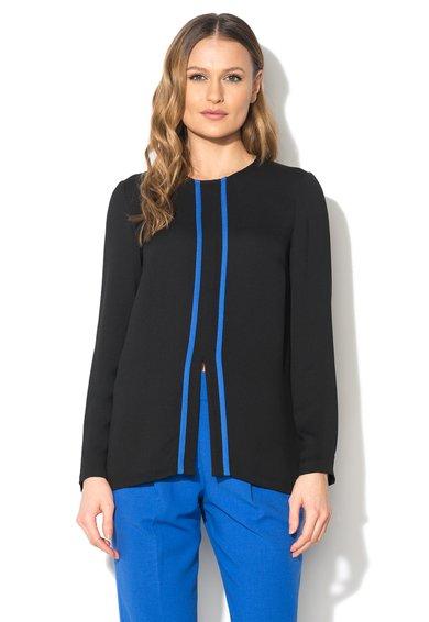 Bluza neagra cu garnituri albastre