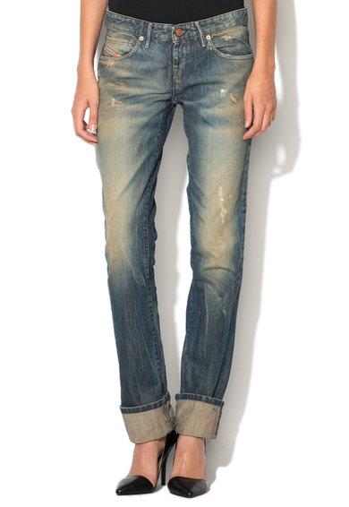Diesel Jeansi albastri cu talie joasa si aspect uzat Myboy