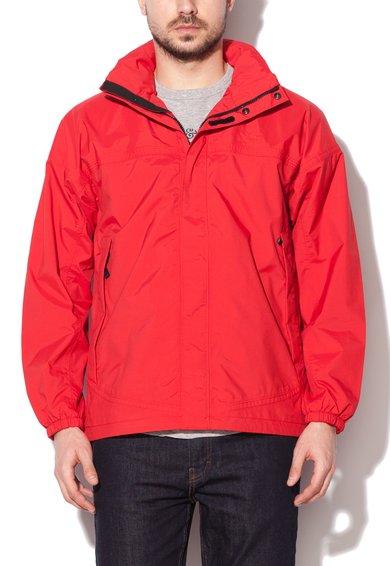 Jacheta rosie impermeabla si cu gluga pliabila