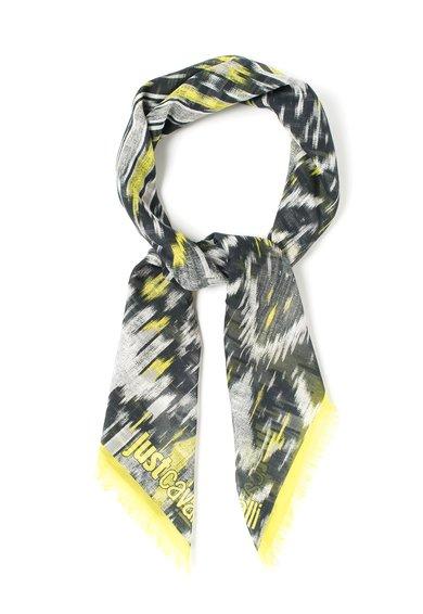 Esarfa negru cu galben chartreuse cu imprimeu etnic de la Just Cavalli