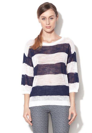 Bluza alb cu bleumarin tricotata cu maneci ? de la United Colors Of Benetton