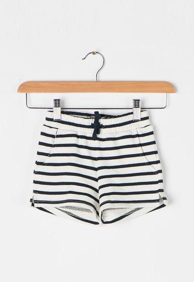 Creamie Pantaloni scurti alb cu negru in dungi Benedicta