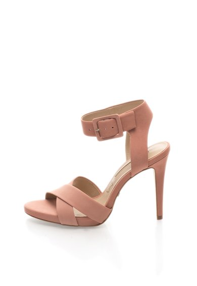 Sandale roz prafuit din piele nabuc
