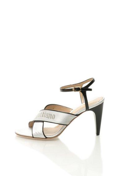 Sandale alb perlat cu negru cu barete incrucisate de la John Galliano