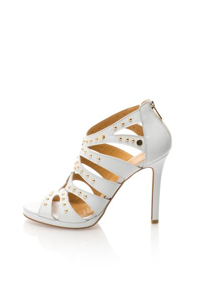Sandale albe din piele cu barete si tinte Christiane de la Versace 19.69 Abbigliamento Sportivo
