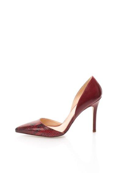 Pantofi D'Orsay rosu inchis cu model tip reptila Naomi