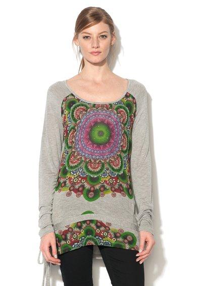 FashionDays.ro: Bluza gri melange cu imprimeu mandala Olga Desigual