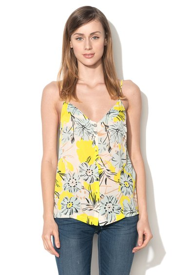 Top multicolor cu model floral si nasturi