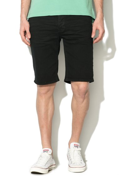BLEND Bermude negre slim fit din denim Twister