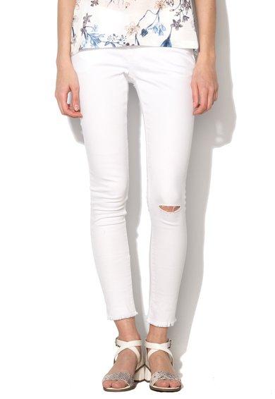 Jeansi albi cu terminatii nefinisate Nova de la Blend She