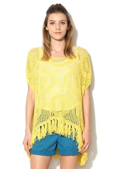 FashionDays.ro: Bluza galbena asimetrica din tricot cu croiala lejera United Colors Of Benetton