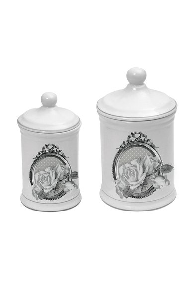 Set de recipiente albe pentru baie Roses - 2 piese