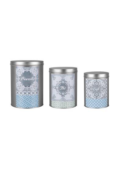 Set de recipiente argintii metalice pentru bucatarie – 3 piese de la Orval