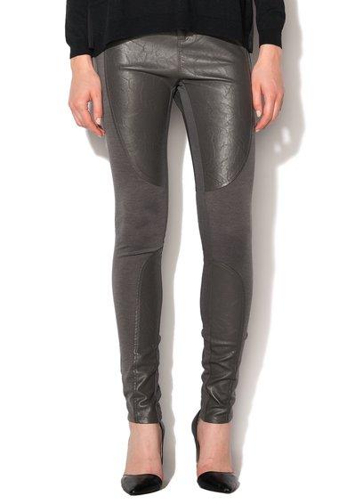 GAS Pantaloni gri cu insertii de piele sintetica Sophie