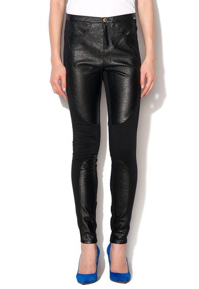 GAS Pantaloni negri cu insertii de piele sintetica Sophie
