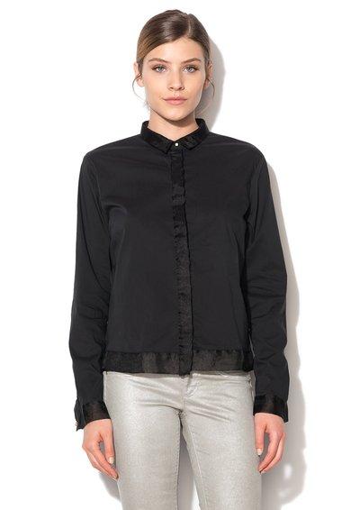 FashionDays.ro: Camasa neagra cu garnituri din sifon Jamye GAS
