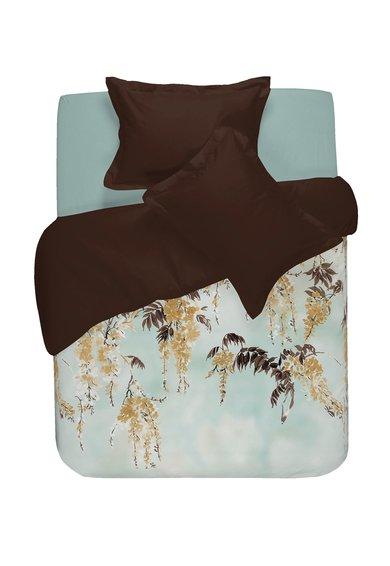 Set de pat maro cu verde marin cu imprimeu floral Robina de la NAF NAF linge de maison