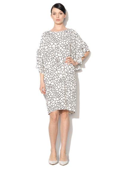 Rochie negru cu alb cu imprimeu grafic