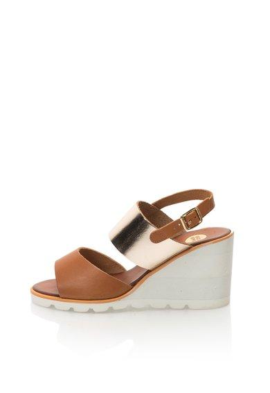Sandale wedge maro cu auriu de piele Beaune de la Gioseppo