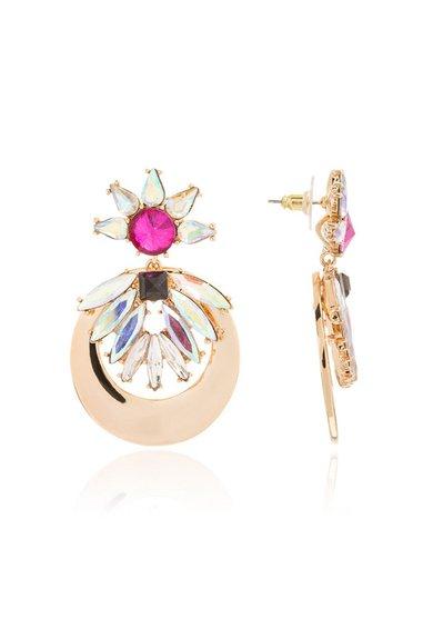 Cercei drop aurii cu tija si cristale de la M by Maiocci