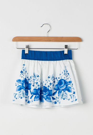 FashionDays.ro: Fusta alb cu nuante de albastru cu imprimeu GUESS JEANS