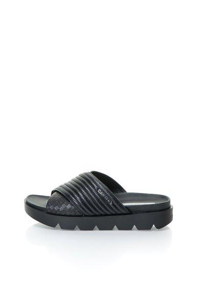 Calvin Klein Jeans Papuci flatform negri de piele Lucilla