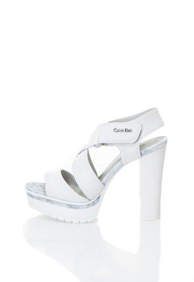 Calvin Klein Jeans Sandale albe de piele cu platforma Monica