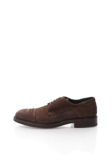 Pantofi derby maro de piele nabuc de la Zee Lane Collection