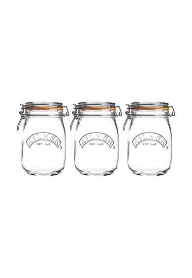 Set de recipiente de sticla cu capac cu clips – 3 piese