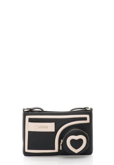 FashionDays.ro: Geanta crossbody negru cu alb fildes Love Moschino