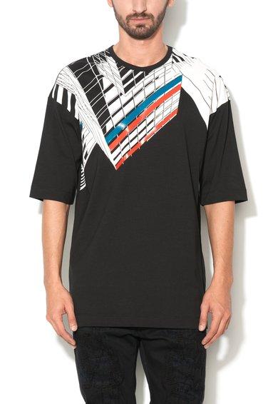Tricou negru cu alb cu imprimeu grafic Tikuna