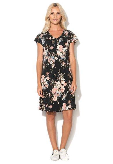Rochie neagra cu imprimeu floral multicolor de la Uttam Boutique
