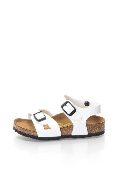 Birkenstock Sandale albe cu talpa interioara ergonomica Rio