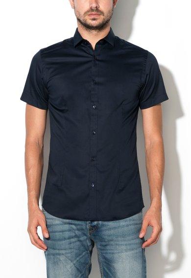 Camasa neagra super slim bleumarin cu maneci scurte Parma de la Jack&Jones