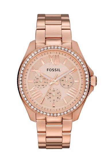 Ceas auriu rose decorat cu cristale Cecile de la Fossil