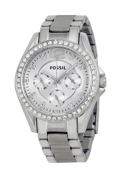 Fossil Ceas argintiu decorat cu cristale Riley