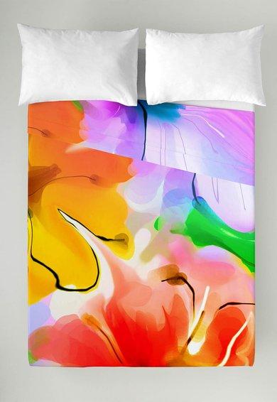 FashionDays.ro: Set multicolor de cearsaf si fata de perna Flowers Naturals