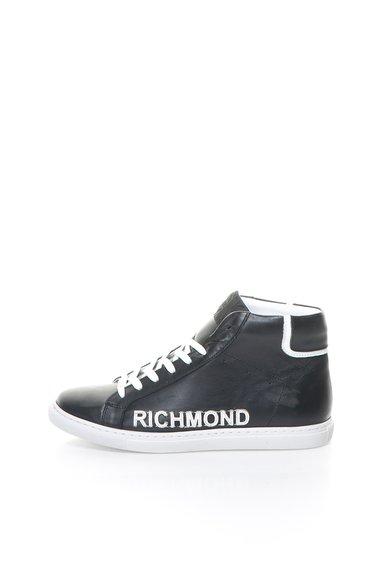 Tenisi inalti negri de piele cu garnituri albe de la Richmond