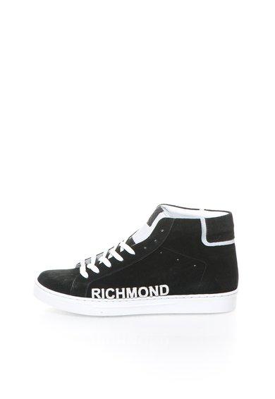 Tenisi inalti negri de piele intoarsa cu logo alb de la Richmond