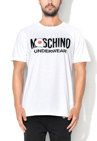Tricou de casa alb cu imprimeu text Moschino