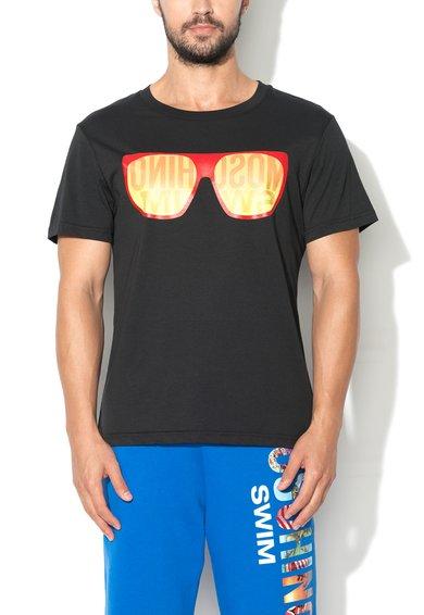 Tricou de plaja negru cu imprimeu