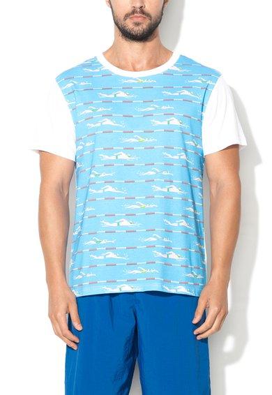 Tricou alb cu albastru si imprimeu pentru plaja Moschino