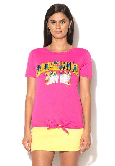 Tricou roz de plaja cu imprimeu